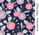 seamless pattern with pink and... | Shutterstock .eps vector #740671633