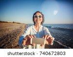 stylish attractive mature woman ... | Shutterstock . vector #740672803
