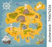 pirate map builder in fantasy... | Shutterstock .eps vector #740676226