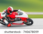 motorcycle practice leaning... | Shutterstock . vector #740678059