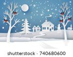 paper cut and craft winter... | Shutterstock . vector #740680600