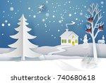 paper cut and craft winter... | Shutterstock . vector #740680618
