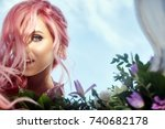 beautiful woman with pink hair... | Shutterstock . vector #740682178