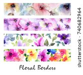 floral banners. watercolor... | Shutterstock . vector #740682964