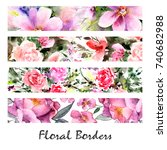 floral banners. watercolor... | Shutterstock . vector #740682988