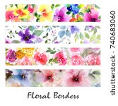 floral banners. watercolor... | Shutterstock . vector #740683060