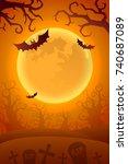 happy halloween background.... | Shutterstock .eps vector #740687089