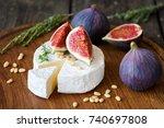 camembert cheese with fresh... | Shutterstock . vector #740697808