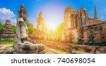 worship of thailand buddha... | Shutterstock . vector #740698054