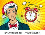 christmas pop art face.... | Shutterstock .eps vector #740698354