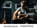 handsome young man on rehearsal ... | Shutterstock . vector #740699920