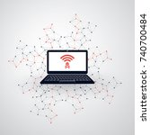 unsecured public wireless... | Shutterstock .eps vector #740700484