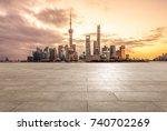 empty brick platform with... | Shutterstock . vector #740702269