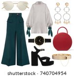 a set of fashionable clothes...   Shutterstock . vector #740704954