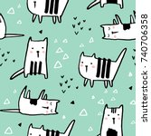 childish seamless pattern with... | Shutterstock .eps vector #740706358