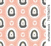 childish seamless pattern with... | Shutterstock .eps vector #740706376