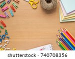 flat lay background of... | Shutterstock . vector #740708356