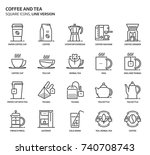 coffee and tea  square icon set.... | Shutterstock .eps vector #740708743