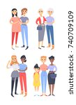 set of different couples and...   Shutterstock .eps vector #740709109