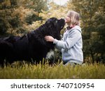 young girl with huge dog breed... | Shutterstock . vector #740710954