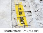 warning. attention gas pipe.... | Shutterstock . vector #740711404