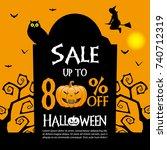 halloween sale banner template | Shutterstock .eps vector #740712319