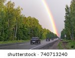 rainbow after rain in sky over... | Shutterstock . vector #740713240