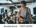repetition of rock music band... | Shutterstock . vector #740713390