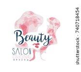 beauty salon logo original... | Shutterstock .eps vector #740718454