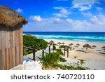 cancun delfines beach at hotel... | Shutterstock . vector #740720110