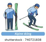 a young man with mountain ski ... | Shutterstock .eps vector #740721838