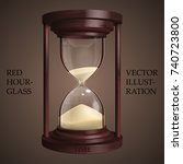 red hourglass on brown... | Shutterstock .eps vector #740723800