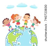 globe kids. international... | Shutterstock . vector #740723830