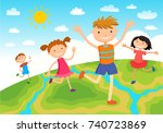 globe kids on globe.... | Shutterstock . vector #740723869