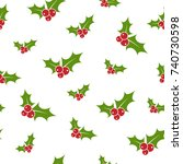 red and green holly berry on... | Shutterstock .eps vector #740730598