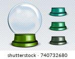 raster empty snow globe set.... | Shutterstock . vector #740732680