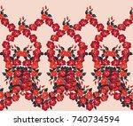 delightful seamless border with ... | Shutterstock . vector #740734594