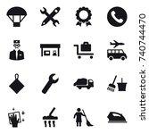 16 vector icon set   parachute  ... | Shutterstock .eps vector #740744470