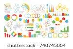 infographics symbols set on... | Shutterstock . vector #740745004