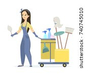 isolated woman cleaner on white ... | Shutterstock . vector #740745010