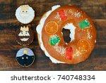 typical dessert eaten in spain... | Shutterstock . vector #740748334