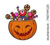 halloween pumpkin basket full... | Shutterstock .eps vector #740749120
