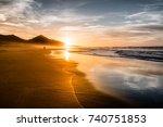 amazing atlantic ocean beach... | Shutterstock . vector #740751853