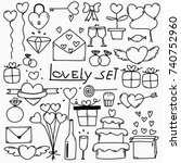 collection of hand drawn... | Shutterstock .eps vector #740752960
