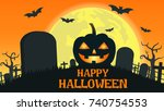 halloween background with smile ... | Shutterstock .eps vector #740754553