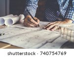 concept architects engineer... | Shutterstock . vector #740754769
