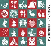 christmas  new year icon big... | Shutterstock .eps vector #740755066