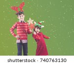 brother and sister full of... | Shutterstock . vector #740763130