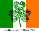 flag of ireland and shamrock... | Shutterstock .eps vector #740763700