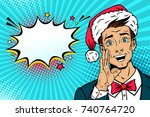 christmas pop art face.... | Shutterstock .eps vector #740764720